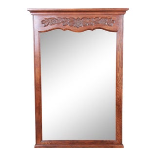 French Provincial Louis XV Carved Oak Framed Wall Mirror by Hickory For Sale
