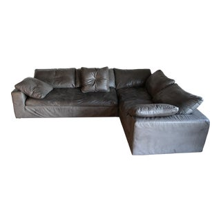 Restoration Hardware Leather Cloud Modular L-Sectional For Sale