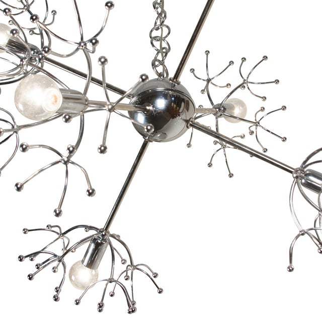 Italian 1960s Chrome Starburst Chandelier - Image 6 of 9