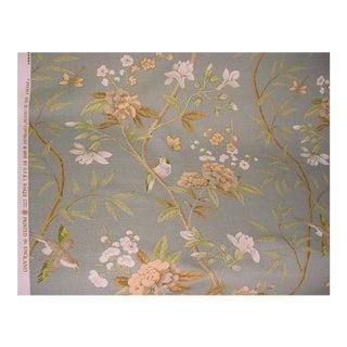 Gp & J Baker Peony Blossom Aqua Printed Linen Upholstery Fabric - 2 1/8 Yards For Sale