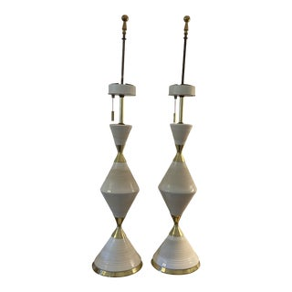 Gerald Thurston Hourglass Table Lamps by Lightolier - A Pair For Sale