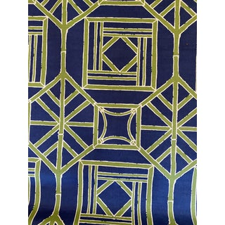 Thibaut Shoji Panel Linen Fabric 3 6/8 Yards Navy Green Color Way For Sale