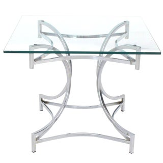 Square Glass Top Figural Chrome Base Side Centre Table For Sale