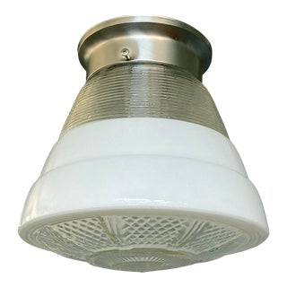 1940s Art Deco White & Clear Ceiling Fixture For Sale
