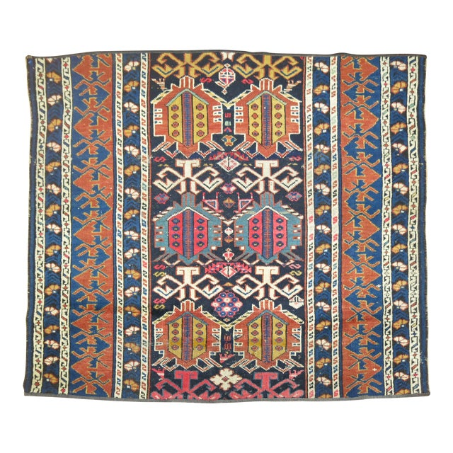 19th Century Antique Caucasian Rug Fragment- 2'11'' x 3'5'' For Sale