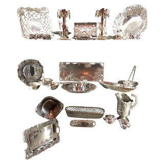 Very Large Collection of Arthur Court Pewter Trays, Candle Sticks, Serving Piece For Sale