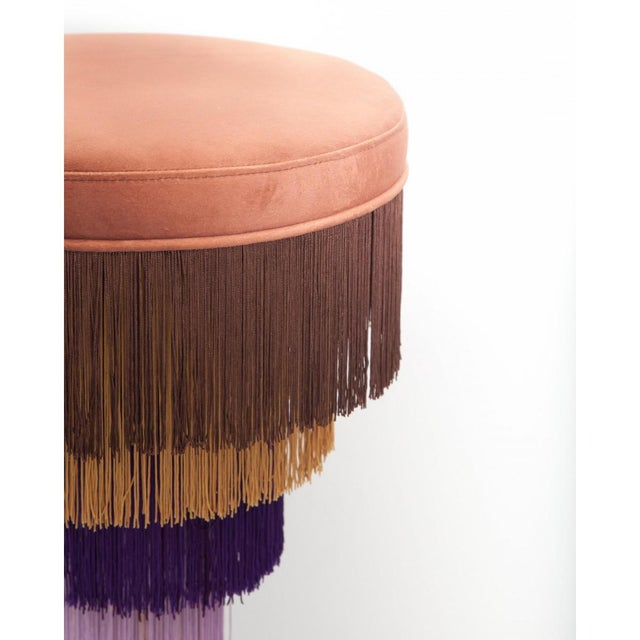 Deja Vu Red and Green Stool With 24-Karat Gold-Plated Metal and Velvet Fringes For Sale - Image 4 of 7
