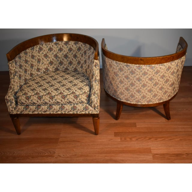 1950s Biedermeier Style Burl Fruit Wood Fireplace Chairs - a Pair For Sale In Philadelphia - Image 6 of 13