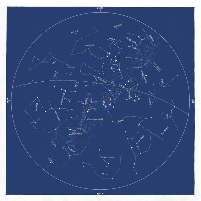 Not Yet Made - Made To Order Square Vintage Minimal Star Map With Constellations For Sale - Image 5 of 5