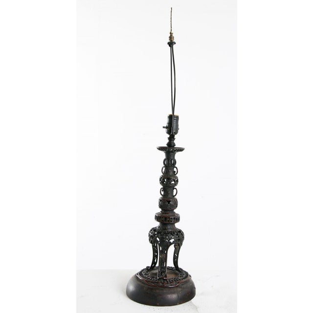 1820 Japanese Bronze Pricket Lamp For Sale - Image 4 of 8