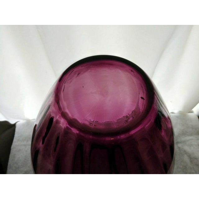 Vintage Pilgrim Glass Co Amethyst/Plum Optic Masterwork Collection Art Glass Vase For Sale - Image 10 of 13