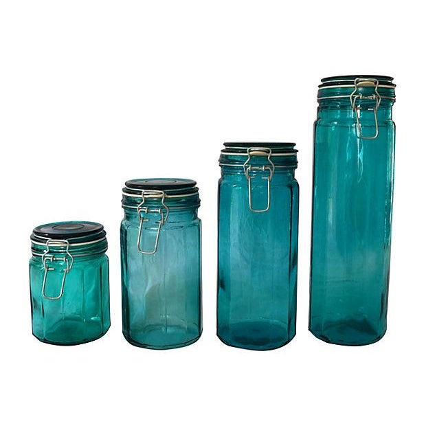 European Turquoise Glass Canisters - Set of 4 - Image 1 of 5