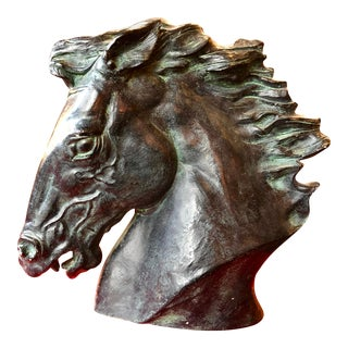 Early 1900s Antique Horse Head Stone Sculpture For Sale