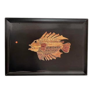 Mid Century Couroc Wood Inlay Fish Tray For Sale