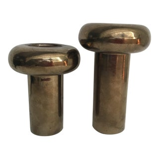 Vintage Sculptural Metallic Pillar Candle Holders-A Pair For Sale