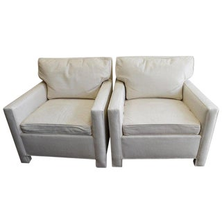 Midcentury Club Chairs of White Leather, Sold as a Pair For Sale