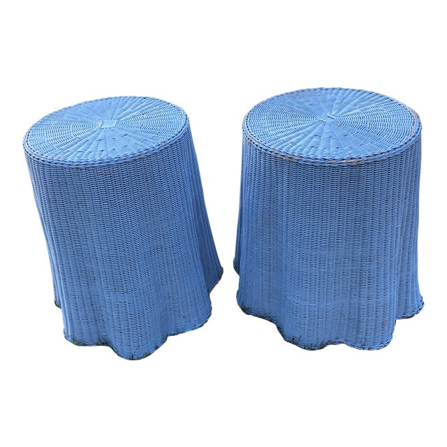 Draped Wicker Rattan Tables - A PAir - Image 1 of 8