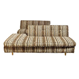 Mid-Century Striped Sofas - A Pair For Sale
