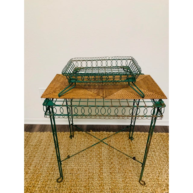 Green Victorian Iron Scroll Garden Patio Table With Tray Plant Stand Bar Cart For Sale - Image 8 of 13