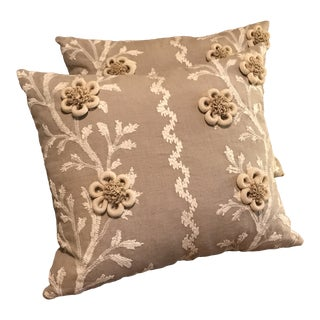 "Swedish Brunschwig & Fils Pillows in ""Sea Vine"" Wheat - a Pair For Sale"