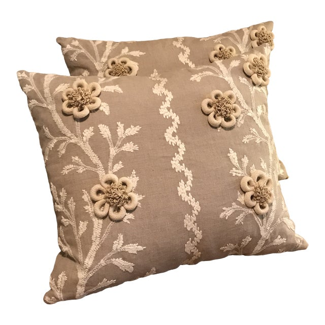 """Swedish Brunschwig & Fils Pillows in """"Sea Vine"""" Wheat - a Pair For Sale"""
