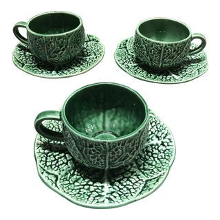 Vintage Secla Green Ceramic Majolica Cabbage Cups & Saucers - Set of 3 For Sale
