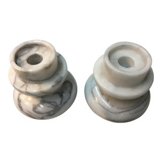 Vintage Mid Century White Marble Candle Holders- A Pair For Sale