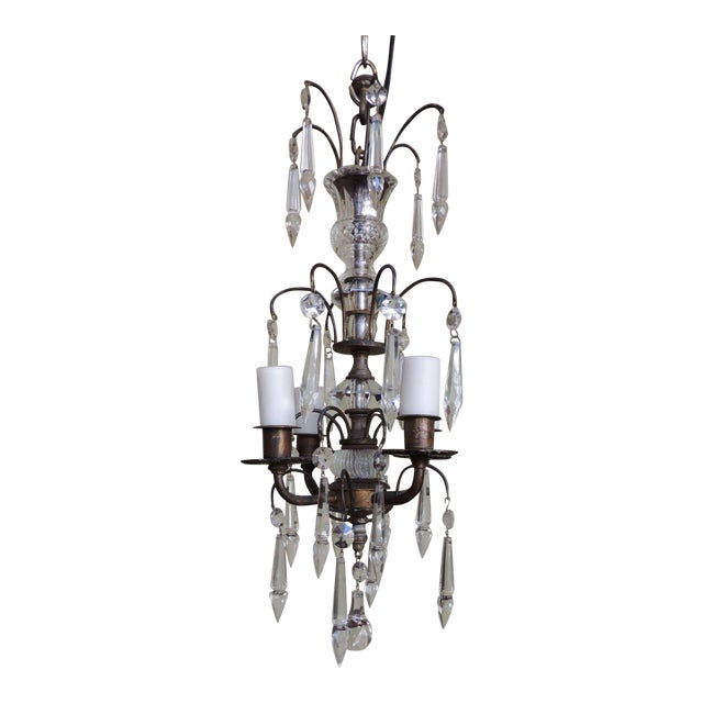 Early 20th C Italian Brass and Crystal Petite Chandelier For Sale