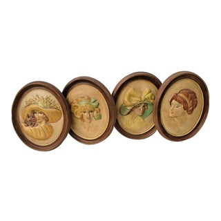 Vintage Plaster Gibson Girls Chalkware Wall Hangings - Set of 4 For Sale