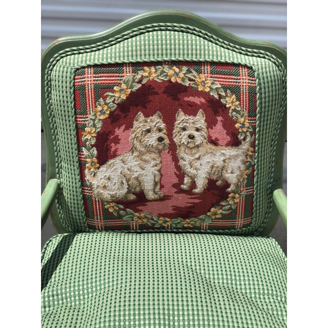 Green Late 20th Century Antique French Gingham Fabric & Dog Detailing Chair For Sale - Image 8 of 9
