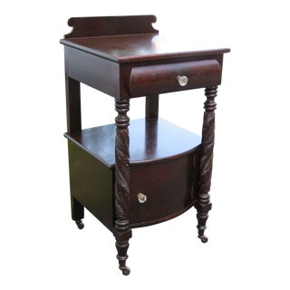 Empire Early 1900s Carved Mahogany Tall Large Nightstand Side End Table 2411 For Sale
