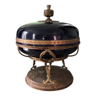 Antique Cobalt French Filigree Compote Sarreguemines For Sale