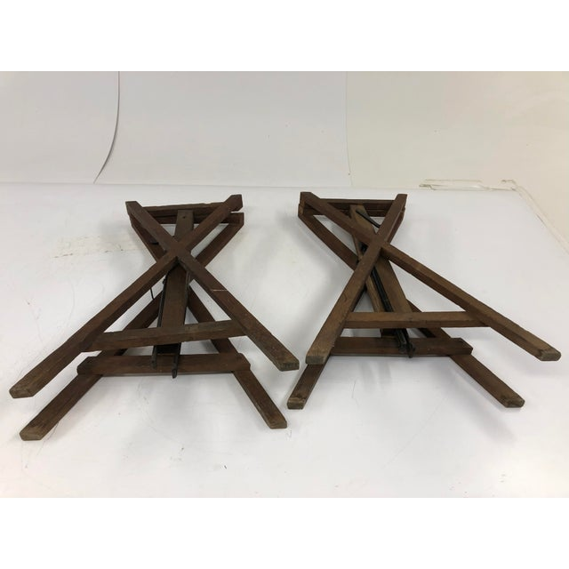 Vintage Industrial Wood Table Bases - a Pair For Sale - Image 11 of 12