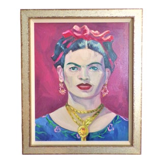 Vintage Frida Kahlo Portrait Oil Painting (After Gerhardt Isringhaus) For Sale
