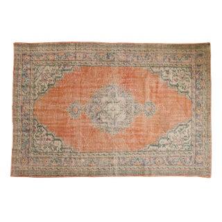 "Vintage Distressed Oushak Carpet - 5'9"" X 8'4"" For Sale"