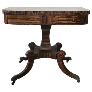 English Calamander Card Table For Sale
