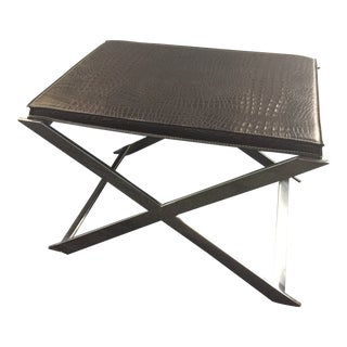 Alligator Embossed Brown Leather Seat Polished Chrome X-Frame Curule Bench For Sale