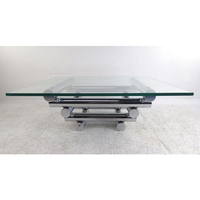 Mid-Century Modern Vintage Modern Chrome Coffee Table in the Style of Paul Mayen For Sale - Image 3 of 10