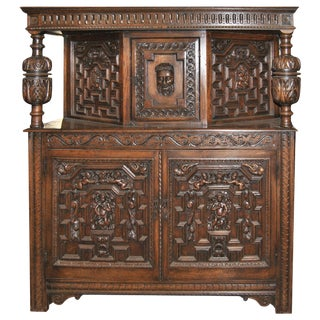 19th Century Carved Oak Court Cupboard For Sale
