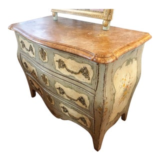 Painted Commode With Marble For Sale