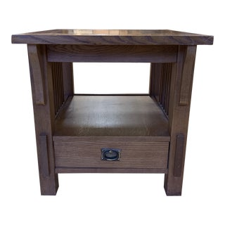Bassett Furniture Mission Style Oak Side Table + Drawer For Sale