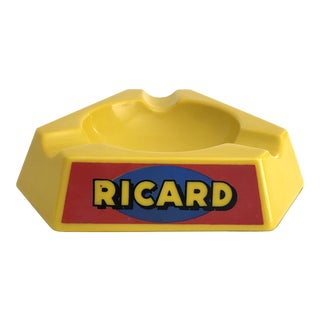 1970s French Ricard Bistro Yellow Glass Ashtray For Sale