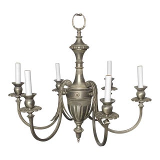 Restored Federal Style 6 Arm Brushed Nickel Chandelier For Sale