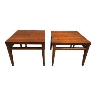 Lane Tuxedo Walnut End Tables - a Pair