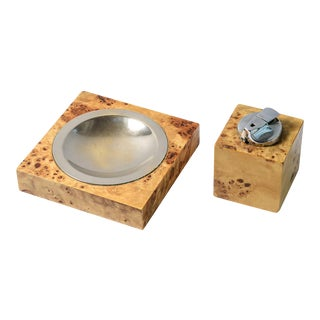 Italian Burl Wood & Brass Ashtray/Catchall & Lighter Set. Tommaso Barbi C1970 For Sale
