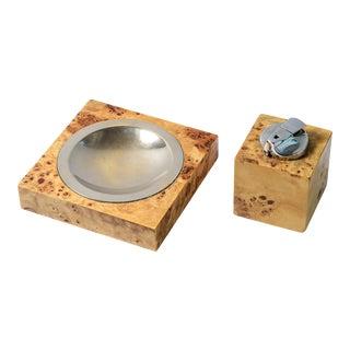 Italian Tommaso Barbi Burl Wood & Brass Ashtray/Catchall Lighter Set.C1970 For Sale