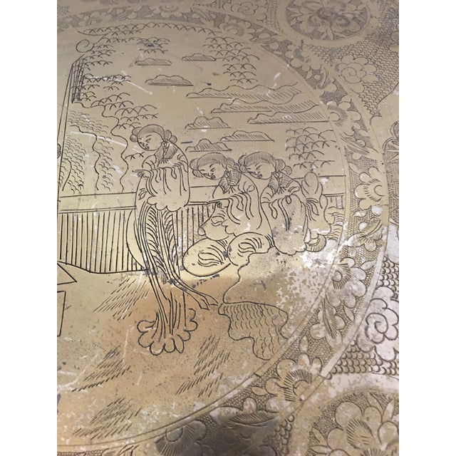 Scalloped Chinese Brass Collapsible Tray Table For Sale - Image 5 of 11