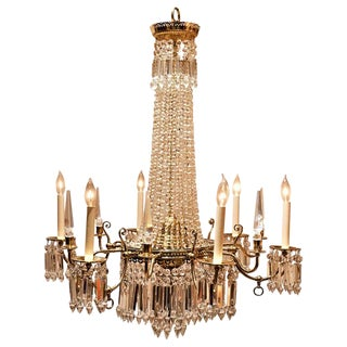 Brass and Crystal Gasolier For Sale
