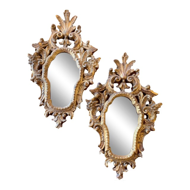 20th Century Italian Rococo Accent Mirrors - a Pair For Sale