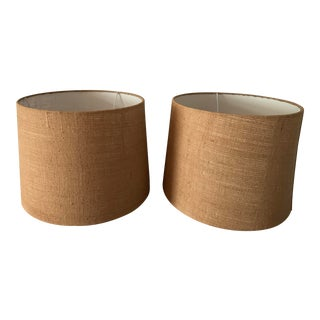 Burlap Lampshades - a Pair For Sale